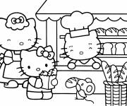 Coloriage Hello Kitty achète du bon pain