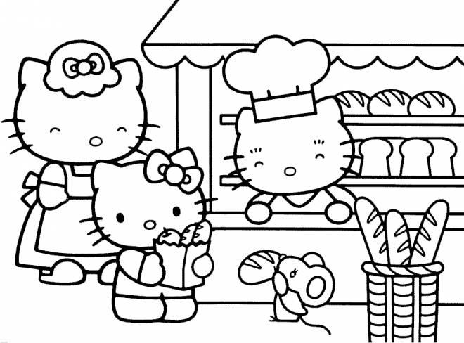Coloriage et dessins gratuits Hello Kitty achète du bon pain à imprimer