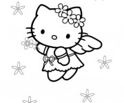 Coloriage Hello Kitty Ange qui vole
