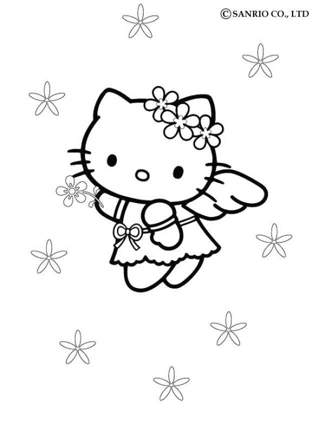 Coloriage et dessins gratuits Hello Kitty Ange qui vole à imprimer