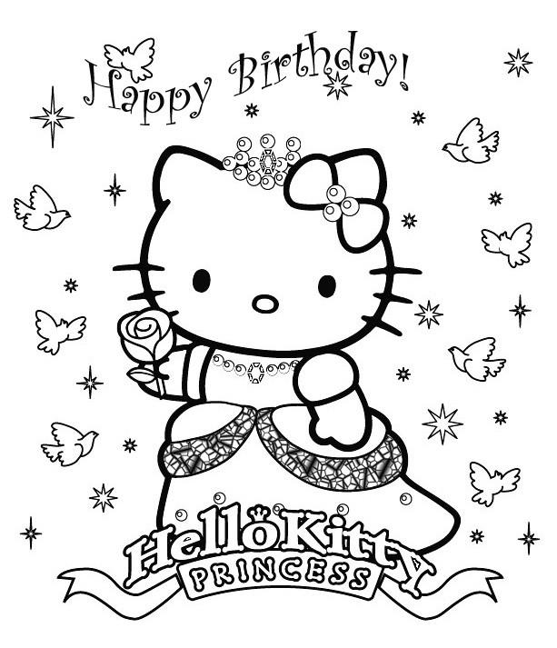 Coloriage et dessins gratuits Hello Kitty Anniversaire à imprimer