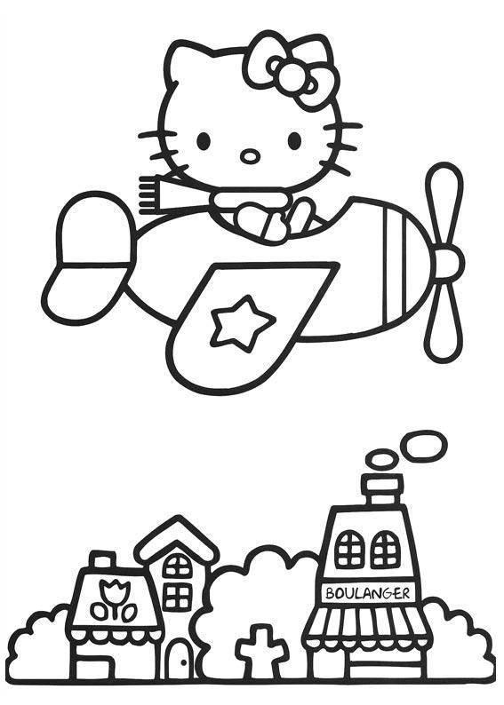Coloriage et dessins gratuits Hello Kitty au dessus de la ville à imprimer