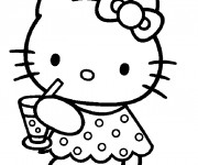 Coloriage dessin  Hello Kitty boit du jus