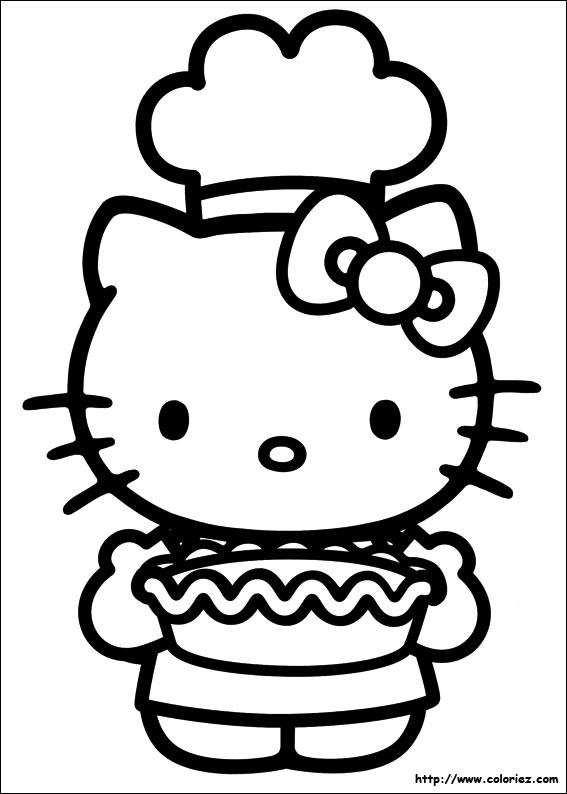 Coloriage et dessins gratuits Hello Kitty Chef cuisinier à imprimer