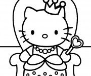Coloriage Hello Kitty dessin animé en français