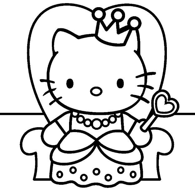 Coloriage et dessins gratuits Hello Kitty dessin animé en français à imprimer