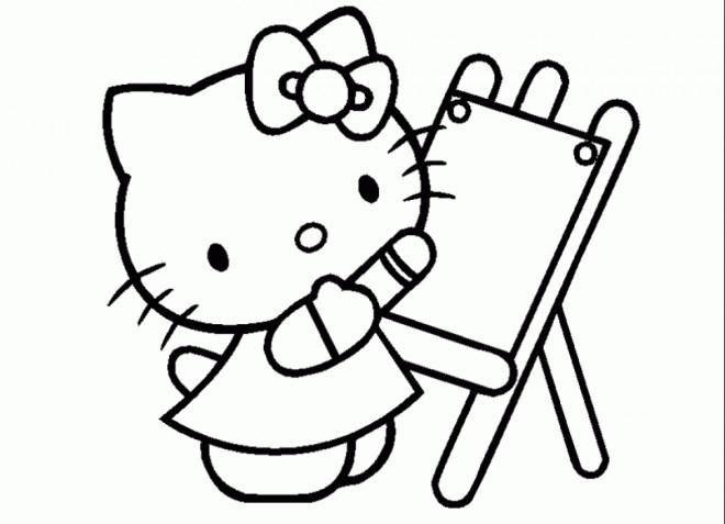 Coloriage et dessins gratuits Hello Kitty dessine maternelle à imprimer