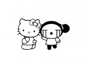 Coloriage Hello Kitty et Garou facile
