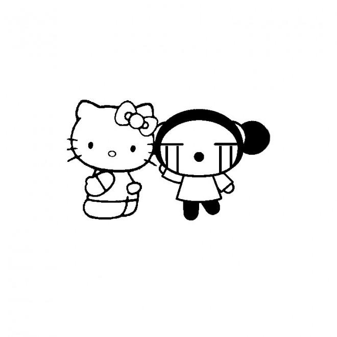 Coloriage et dessins gratuits Hello Kitty et Garou facile à imprimer