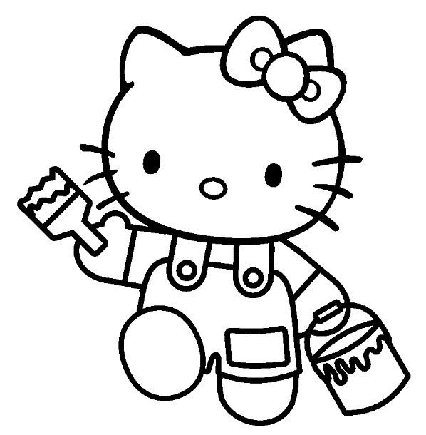 Coloriage hello kitty et la peinture dessin gratuit imprimer - Coloriage hello kitty et la licorne ...