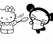 Coloriage dessin  Hello Kitty et Pucca 1