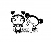Coloriage dessin  Hello Kitty et Pucca 11