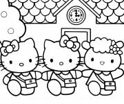 Coloriage dessin  Hello Kitty et Pucca 17