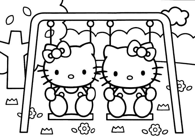 Coloriage et dessins gratuits Hello Kitty et Pucca en jouant au Jardin à imprimer