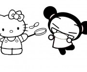 Coloriage Hello Kitty et Pucca rigolo