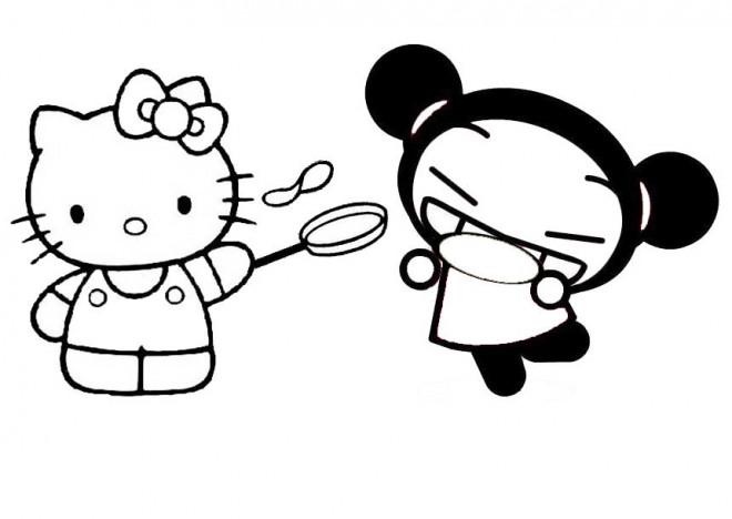 Coloriage et dessins gratuits Hello Kitty et Pucca rigolo à imprimer