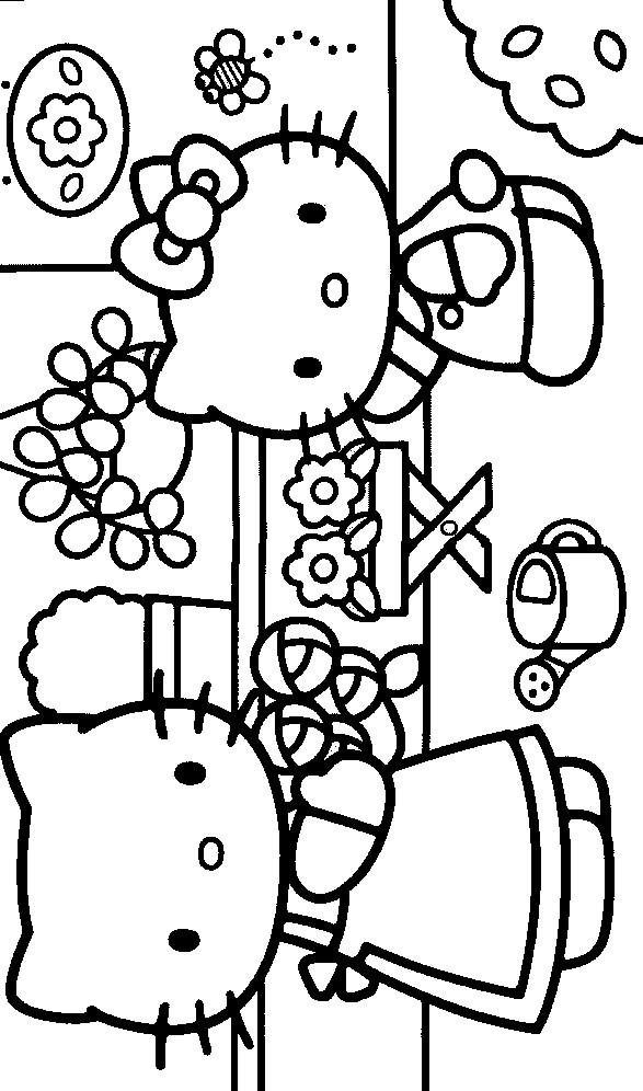Coloriage et dessins gratuits Hello Kitty et sa maman au Jardin à imprimer
