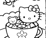 Coloriage Hello Kitty et sa Peluche en plein air