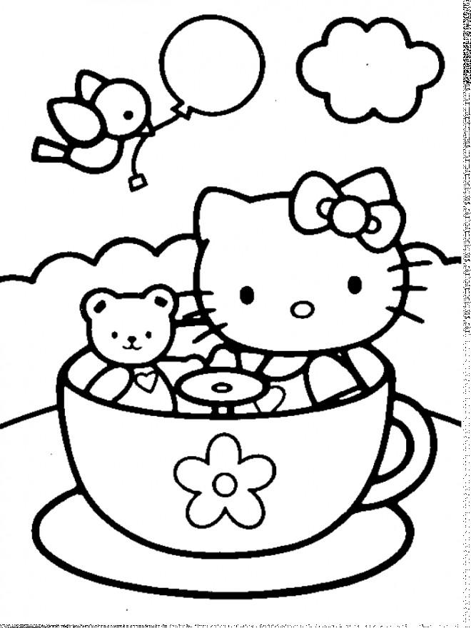 Coloriage et dessins gratuits Hello Kitty et sa Peluche en plein air à imprimer