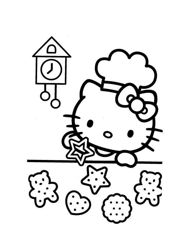 Coloriage et dessins gratuits Hello Kitty fait des Biscuits à imprimer