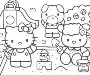 Coloriage et dessins gratuit Hello Kitty joue avec Le Sable à imprimer