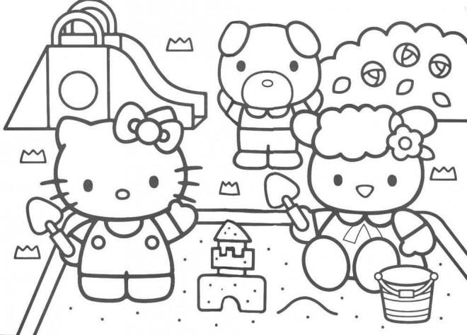 Coloriage et dessins gratuits Hello Kitty joue avec Le Sable à imprimer