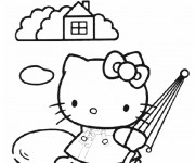 Coloriage Hello Kitty porte sa parapluie