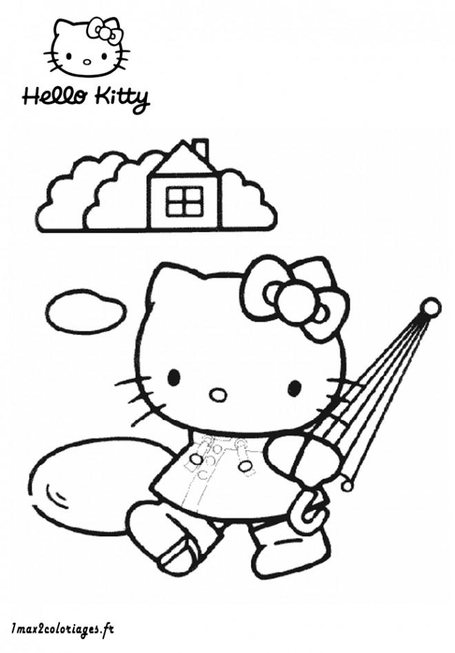 Coloriage et dessins gratuits Hello Kitty porte sa parapluie à imprimer