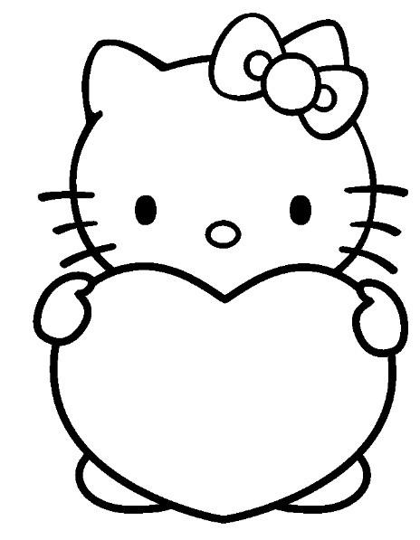 Coloriage Hello Kitty porte un coeur dessin gratuit à imprimer