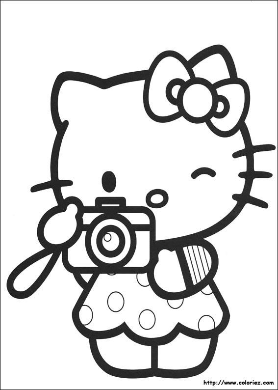coloriage hello kitty prend une photo dessin gratuit. Black Bedroom Furniture Sets. Home Design Ideas