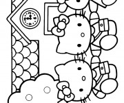 Coloriage Hello Kitty s'amuse avec ses amies