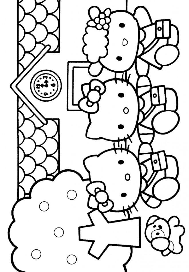 Coloriage et dessins gratuits Hello Kitty s'amuse avec ses amies à imprimer