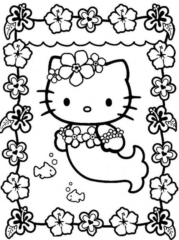 Coloriage et dessins gratuits Hello Kitty sirène décoratif à imprimer