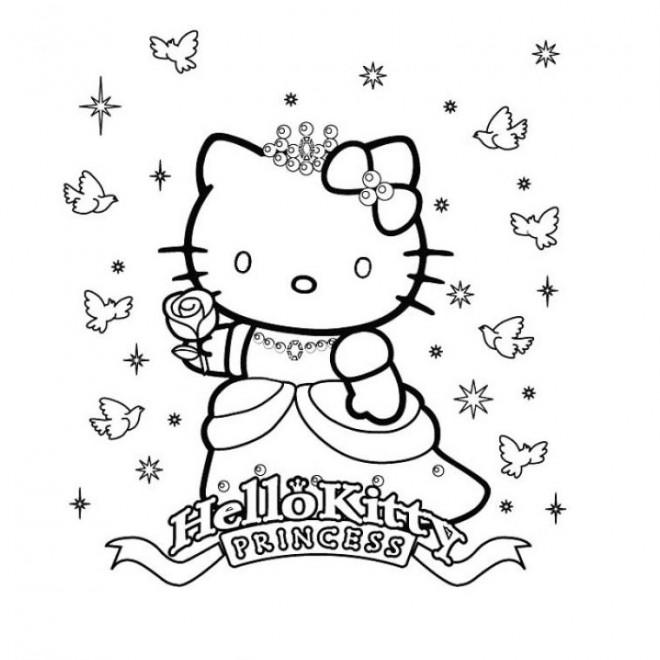 Coloriage et dessins gratuits Princesse Hello Kitty dans le ciel à imprimer