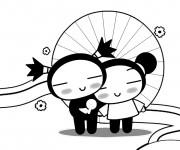 Coloriage et dessins gratuit Pucca et Garou amoureux à imprimer