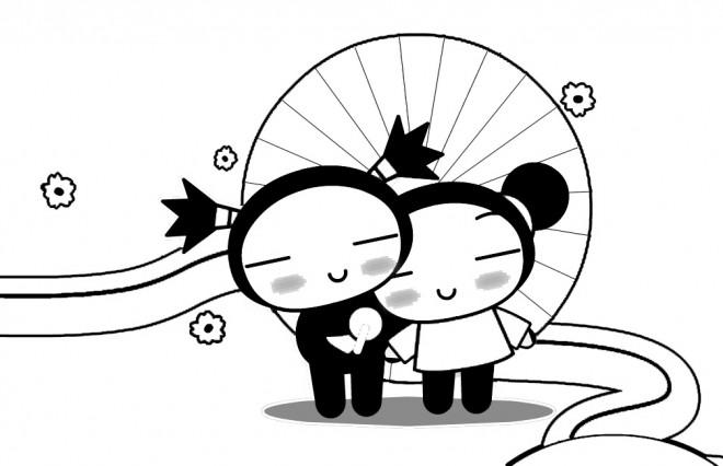 Coloriage et dessins gratuits Pucca et Garou amoureux à imprimer