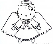 Coloriage Hello Kitty Ange facile