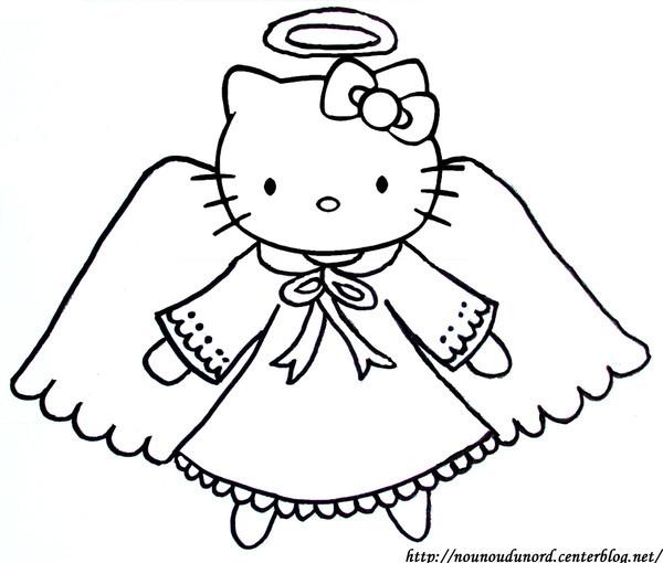 Coloriage et dessins gratuits Hello Kitty Ange facile à imprimer