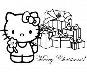 Coloriage et dessins gratuit Hello Kitty  Cadeaux Noel stylisé à imprimer