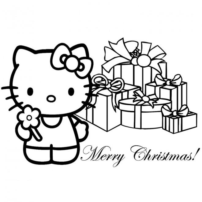 Coloriage et dessins gratuits Hello Kitty  Cadeaux Noel stylisé à imprimer