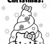 Coloriage Hello Kitty devant Le Sapin de Noel