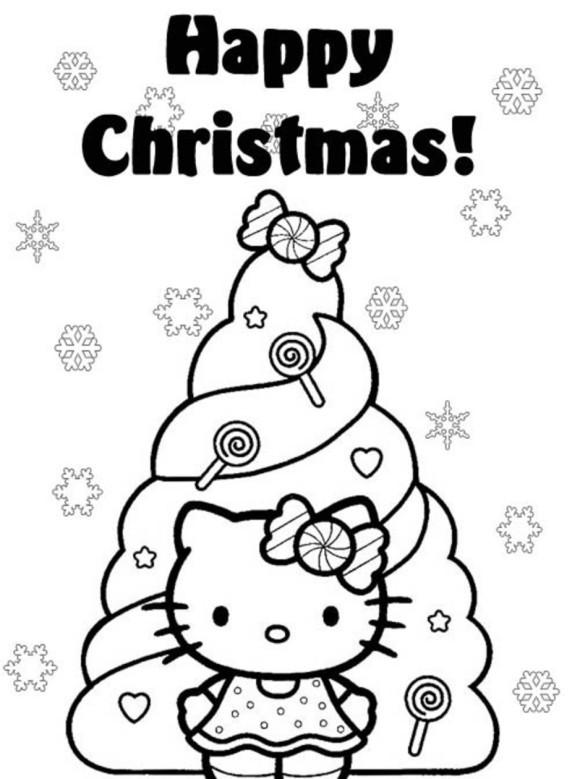 Coloriage et dessins gratuits Hello Kitty devant Le Sapin de Noel à imprimer