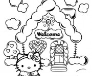 Coloriage Hello Kitty devant sa maison