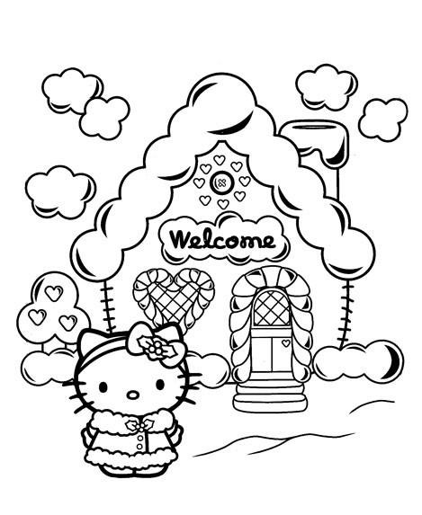 Coloriage et dessins gratuits Hello Kitty devant sa maison à imprimer