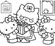 Coloriage Hello Kitty en famille