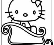 Coloriage Hello Kitty en traîneau