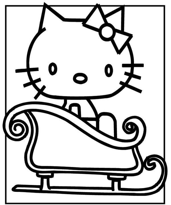 Coloriage et dessins gratuits Hello Kitty en traîneau à imprimer