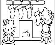 Coloriage Hello Kitty et bas de Noel