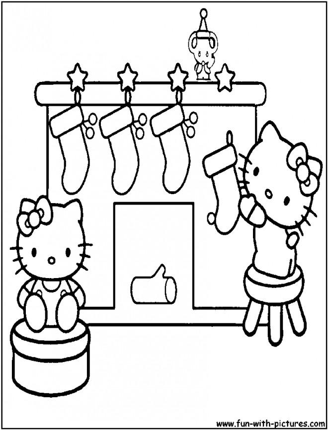 Coloriage et dessins gratuits Hello Kitty et bas de Noel à imprimer