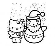 Coloriage et dessins gratuit Hello Kitty et Bonhomme de Neige à imprimer